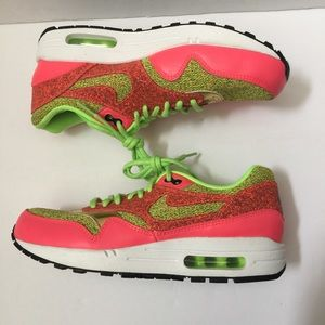 Nike Air Max 1 Hot Pink Green Sneakers Shoes Sz 9